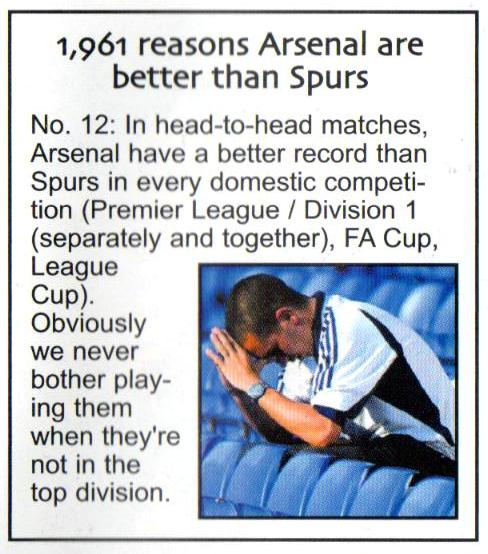 1961 Reasons Why Arsenal Are Better Than Spurs