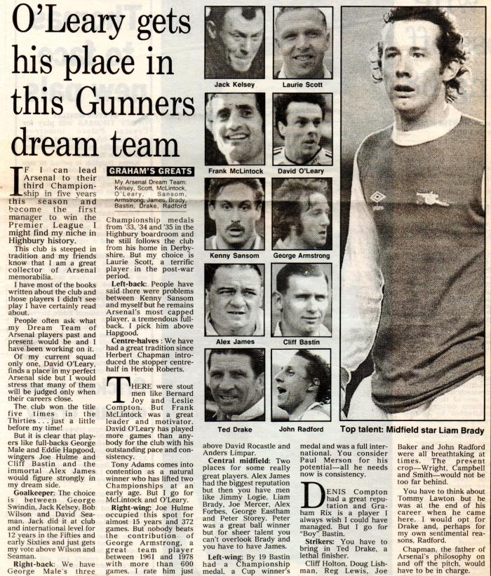 George GBraham's Arsenal dream team001