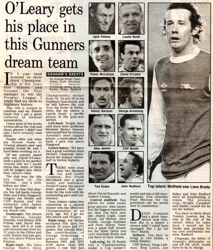 George GBraham's Arsenal dream team001