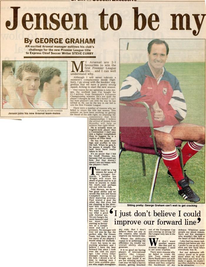 George Graham on John Jensen 14Aug92