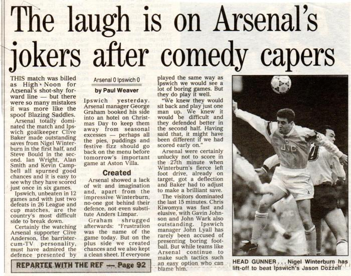 Arsenal Ipswich 27Dec1992