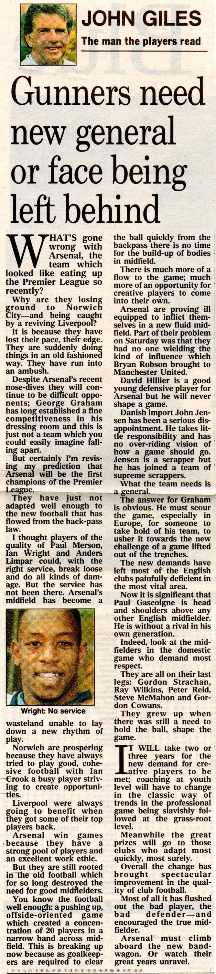 John Giles on Arsenal 1 Dec 1992