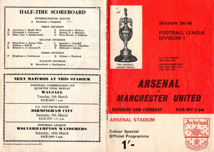Arsenal v Man Utd 24Feb68 1