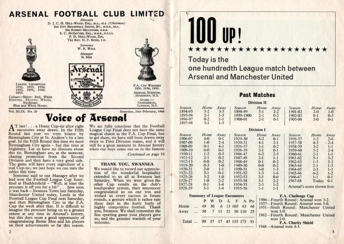 Arsenal v Man Utd 24Feb68 2
