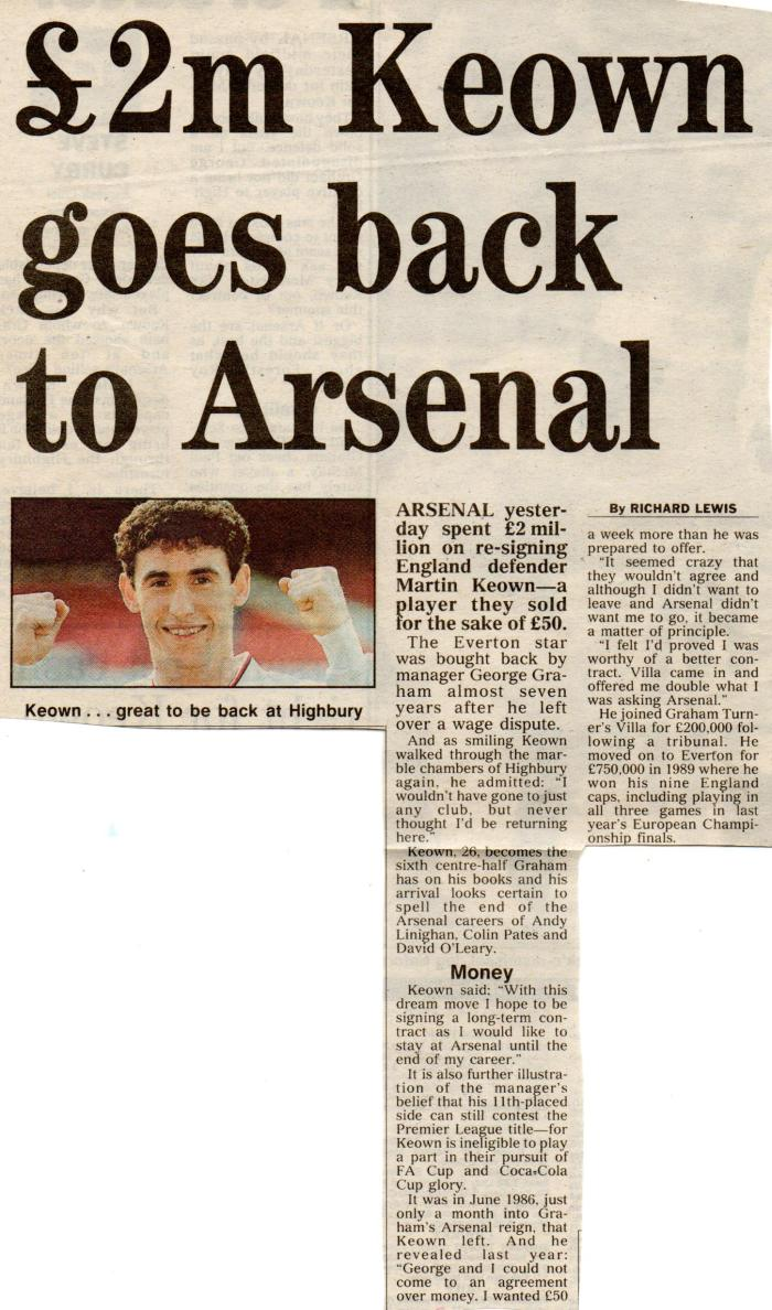 Keown returns to Arsenal 2Feb93001