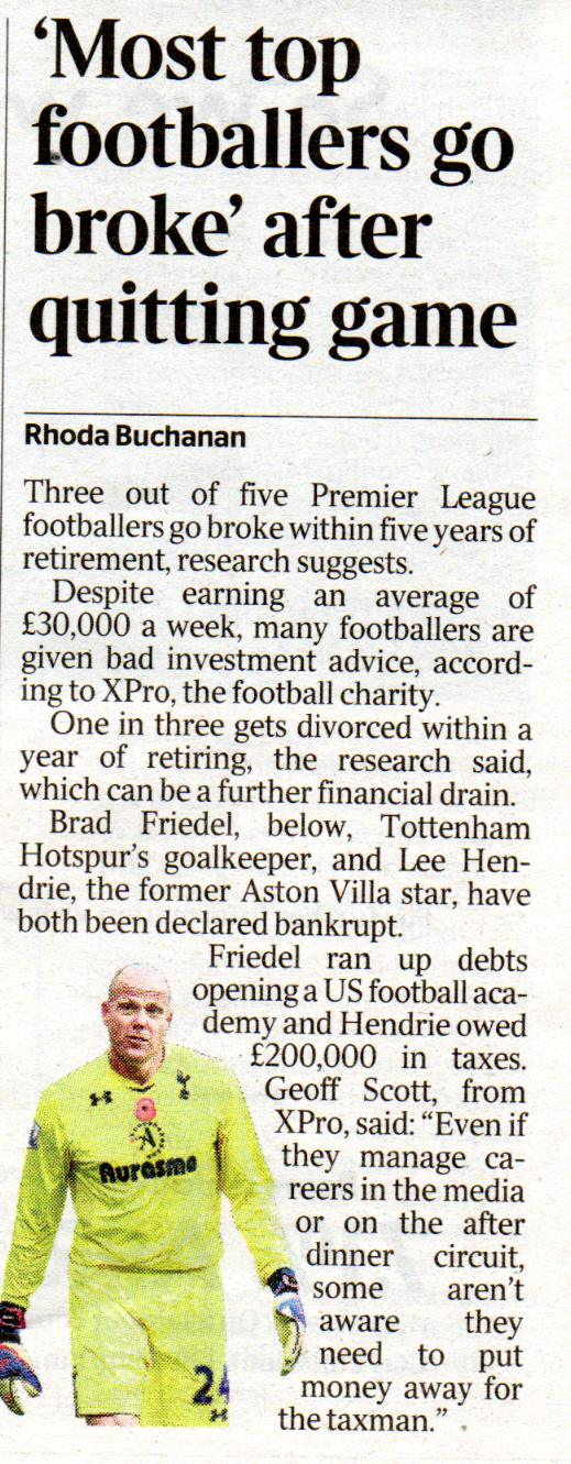 Most PL footballers go broke
