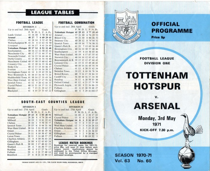 Spurs v Arsenal 1971 001