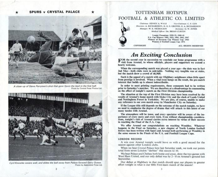 Spurs v Arsenal 1971 002