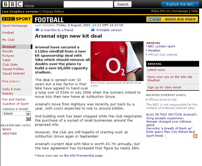 arsenal kit deal 2003