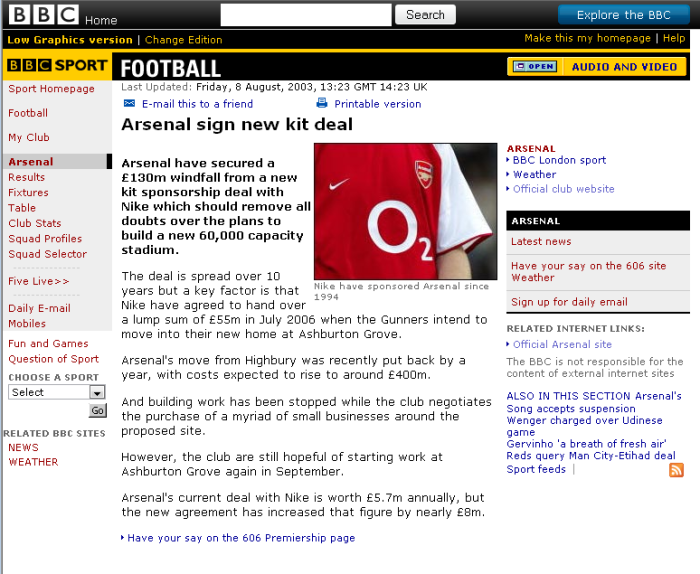 arsenal kit deal 2003