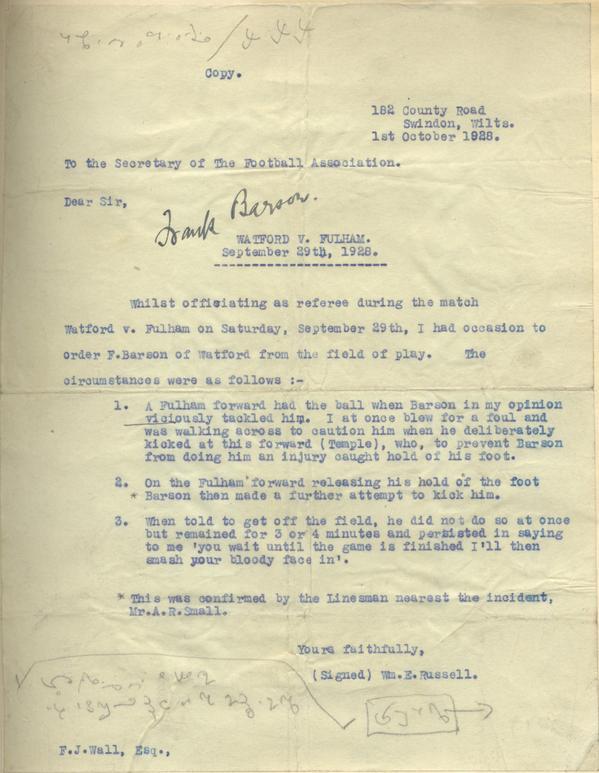 Frank Barson ban letter 1928