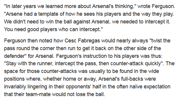 Fergie on how to beat Arsenal