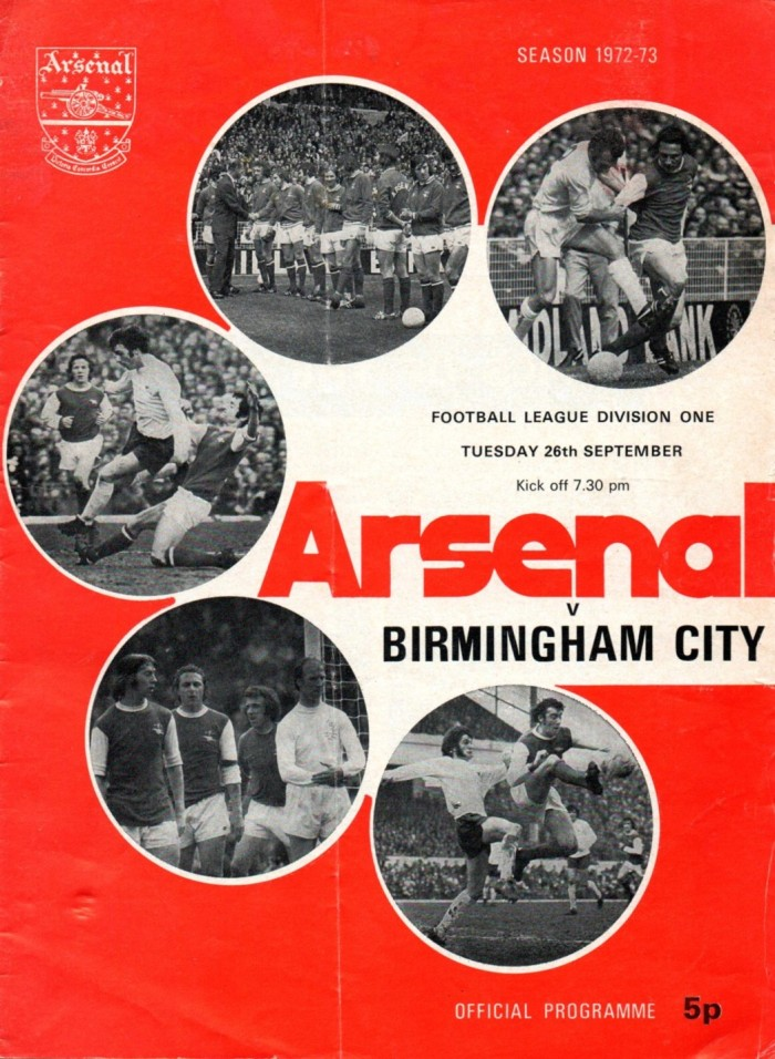 1972-73 Arsenal programme cover