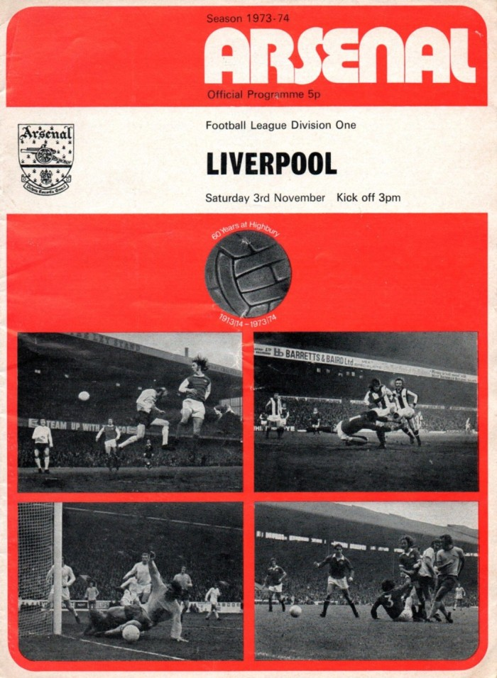 1973-74 Arsenal programme cover