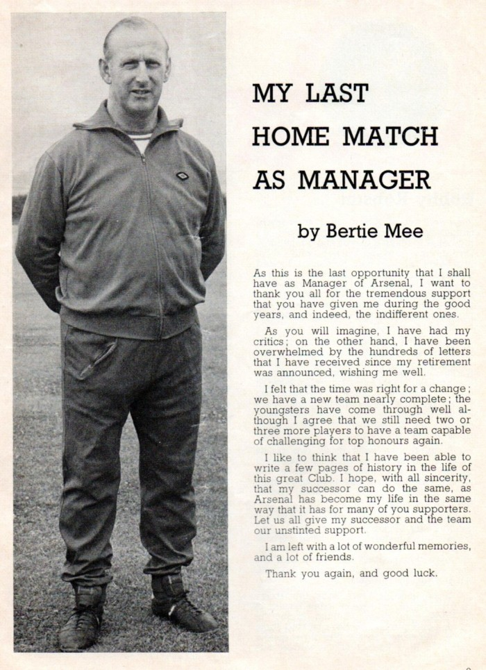 Arsenal programme 1975-76 Bertie Mee s