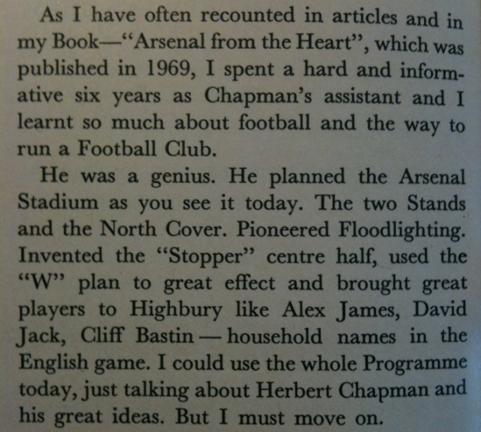 Bob Wall on Herbert Chapman