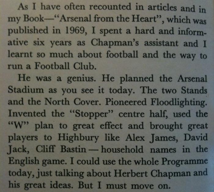 Bob Wall on Herbert Chapman