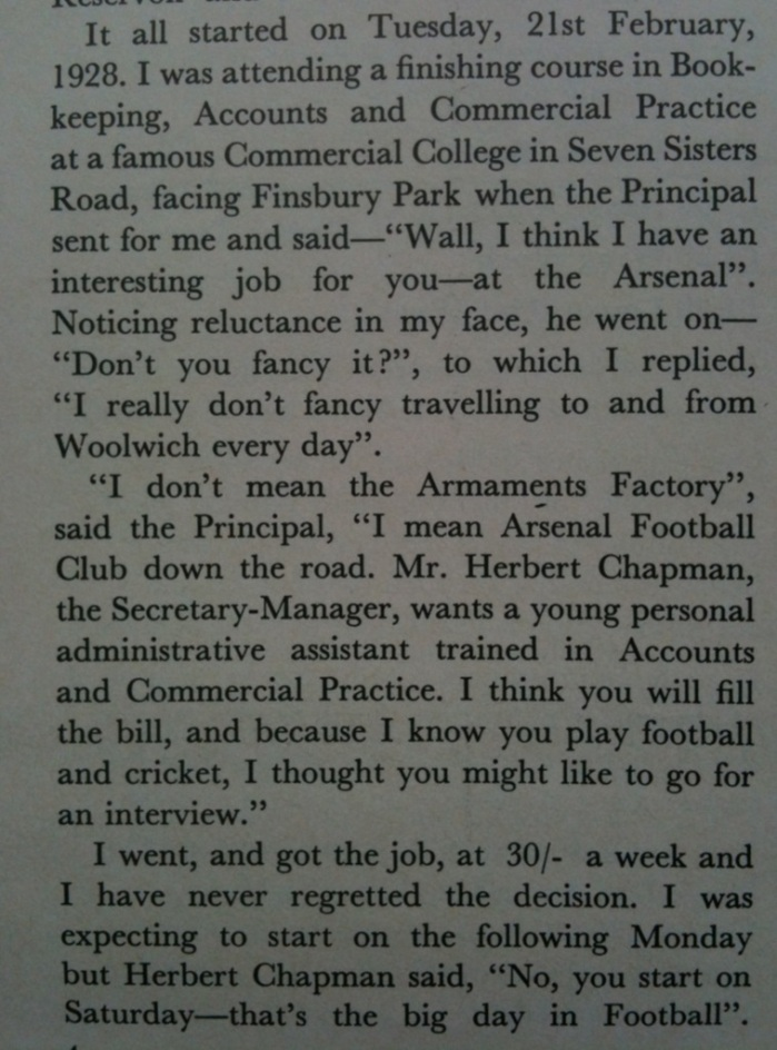 How Bob Wall came to work for Arsenal