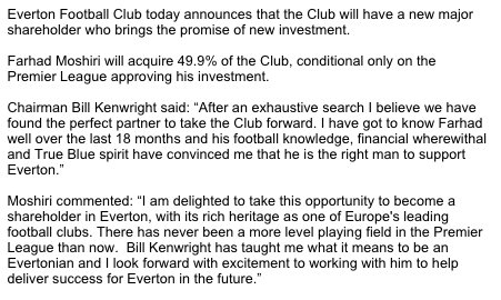 Everton Moshiri statement