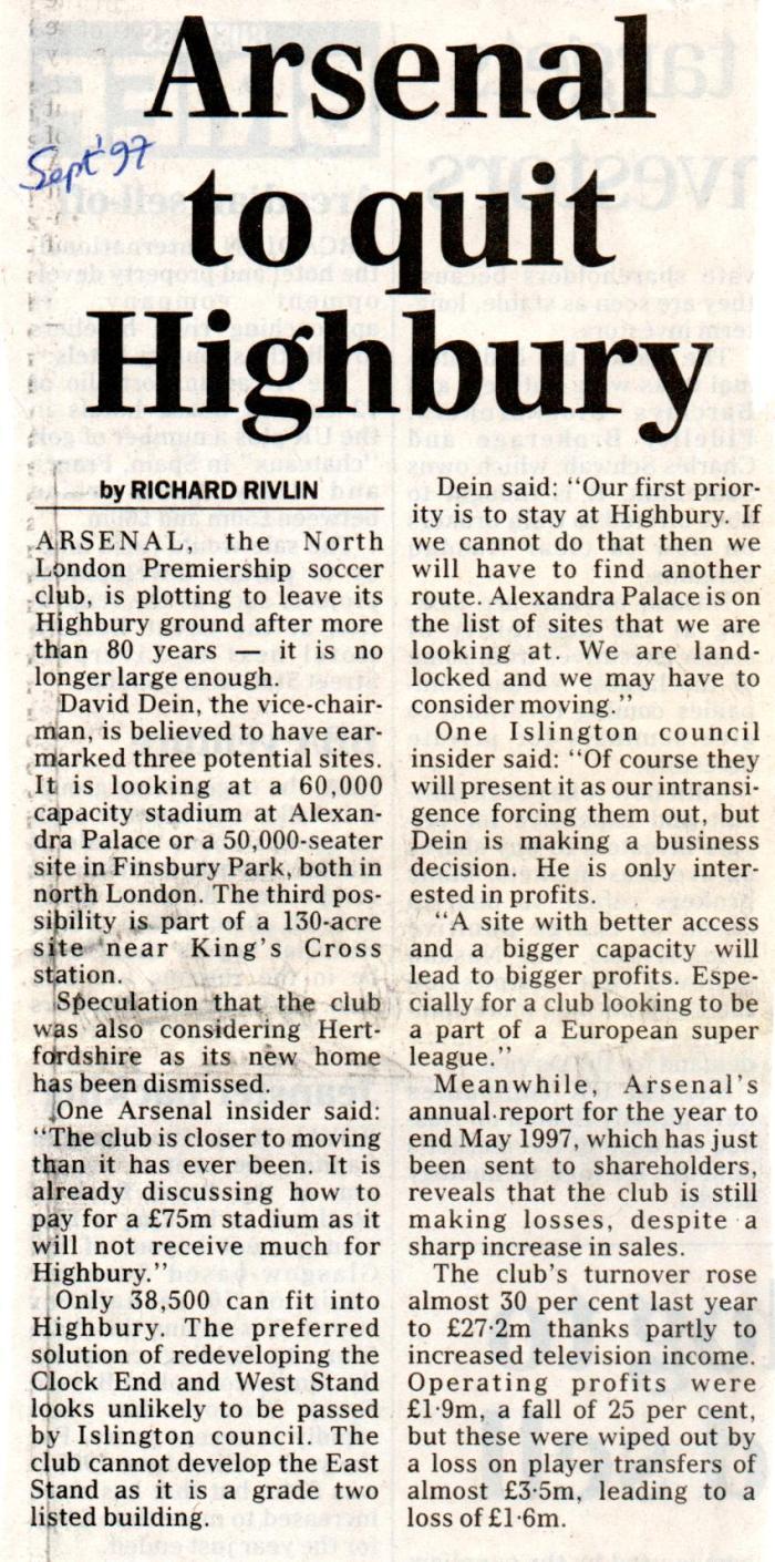 Quit Highbury? Say it ain't so!